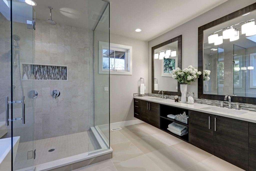 spacious hotel bathroom