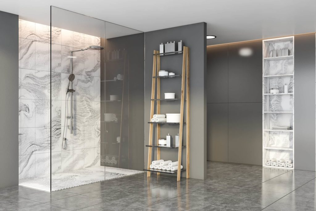 gray shower with anti slip treatment