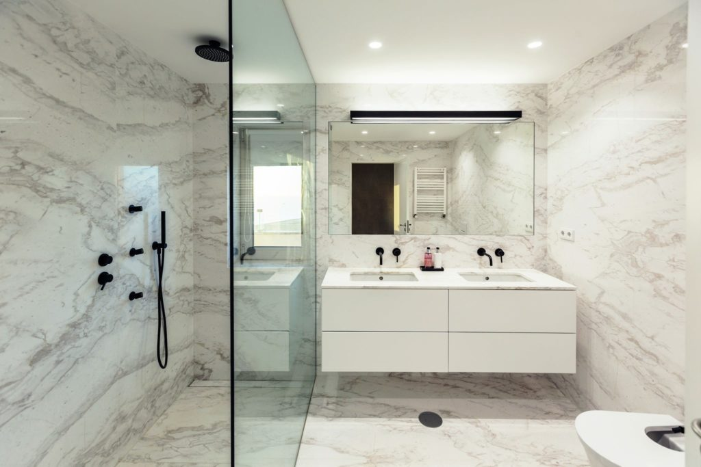 A gorgeous bathroom after marble restoration.